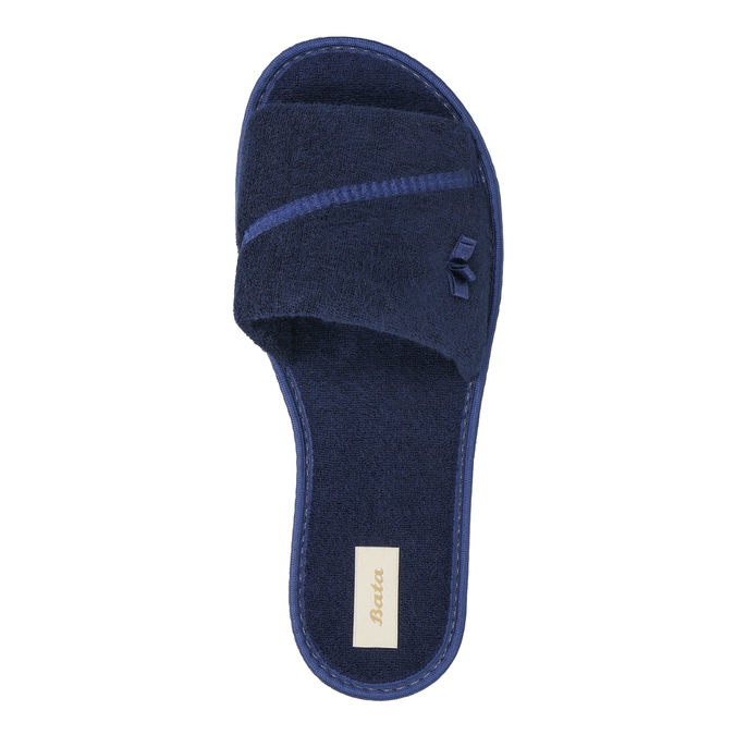 Kapcie damskie zkokardką bata, niebieski, 579-9609 - 19