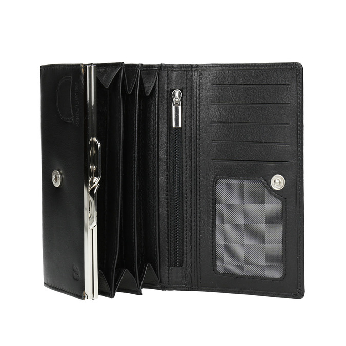 Skórzany portfel damski bata, czarny, 944-6357 - 15
