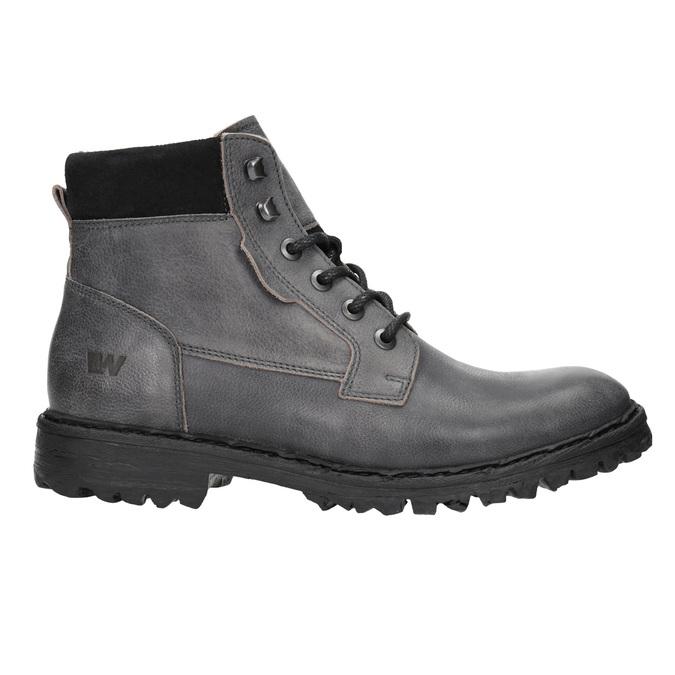 Skórzane buty za kostkę na grubej podeszwie weinbrenner, szary, 896-2110 - 15