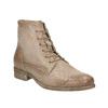 Skórzane botki zperforowanym wzorem bata, brązowy, 596-4646 - 13