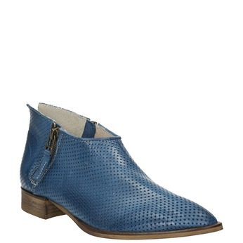 Skórzane botki zperforacją bata, niebieski, 596-9647 - 13