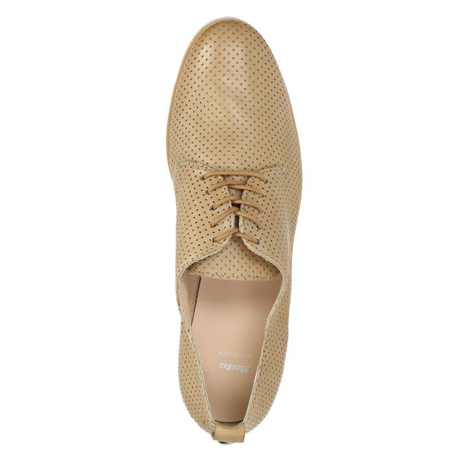 Nieformalne skórzane półbuty damskie bata, beżowy, 526-3626 - 19