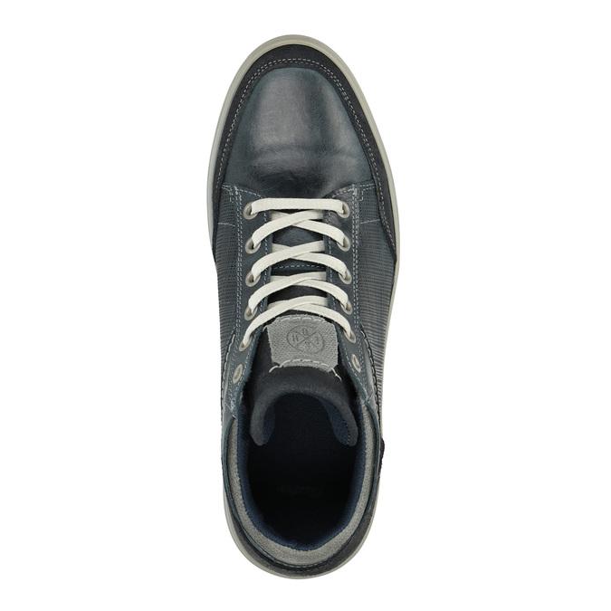 Skórzane trampki męskie za kostkę bata, niebieski, 844-9631 - 19