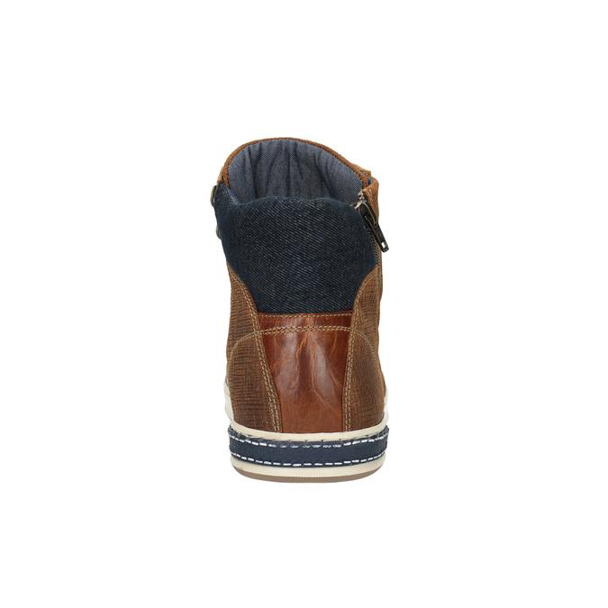 Skórzane trampki za kostkę, zzamkami błyskawicznymi bata, brązowy, 844-3632 - 17