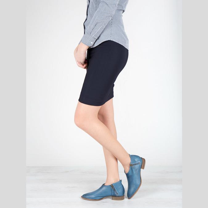 Skórzane botki zperforacją bata, niebieski, 596-9647 - 18