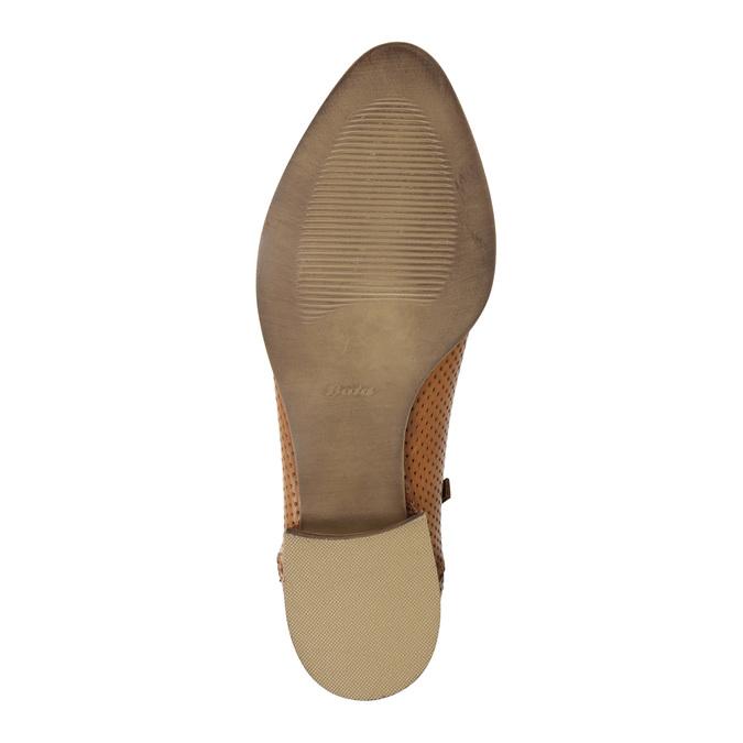 Skórzane botki zperforacją bata, brązowy, 596-4647 - 26