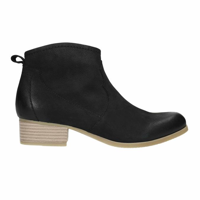 Czarne skórzane botki bata, czarny, 596-6633 - 15