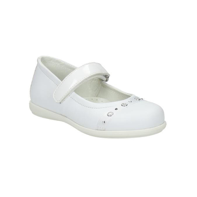 Skórzane baleriny z kamykami mini-b, biały, 224-1600 - 13