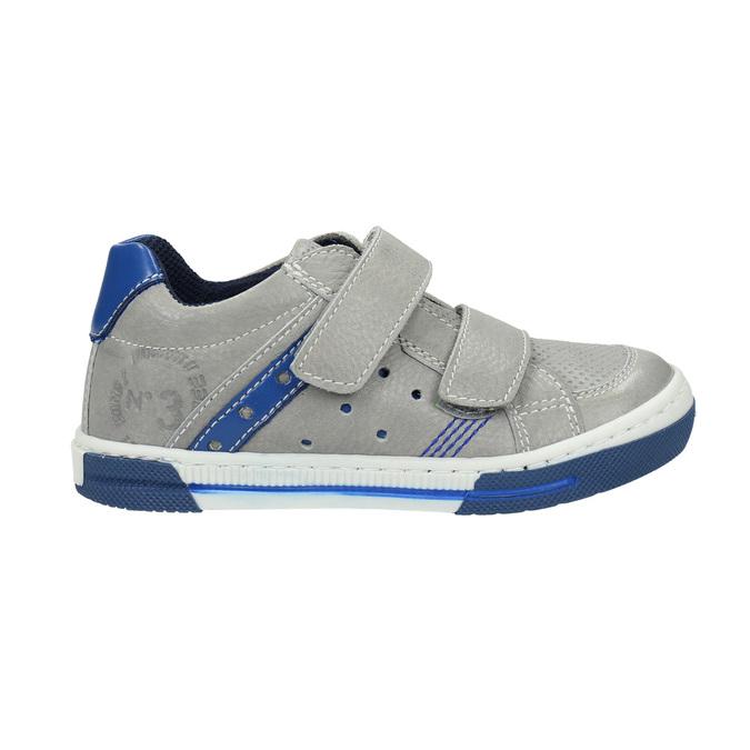 Skórzane dziecięce buty sportowe na rzepy mini-b, szary, 214-2600 - 15
