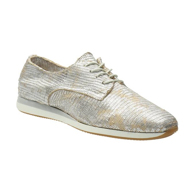 Złote trampki ze skóry bata, srebrny, 526-8633 - 13