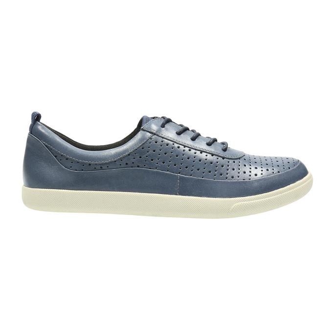 Niebieskie skórzane trampki damskie bata, niebieski, 526-9618 - 15