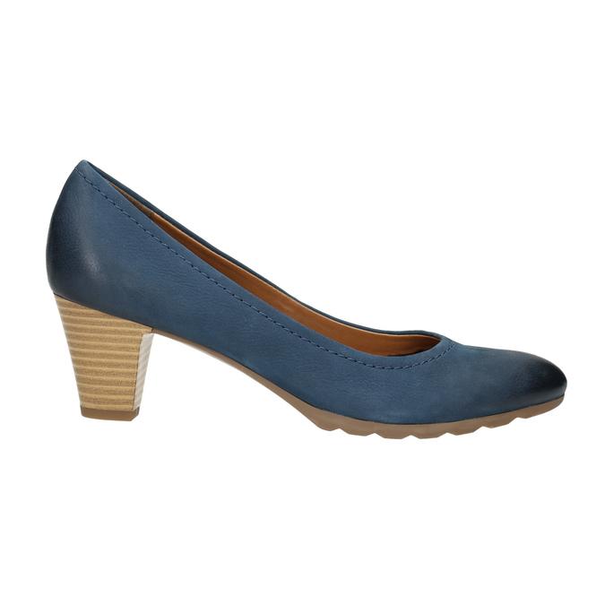 Damskie skórzane czółenka bata, niebieski, 626-9639 - 15