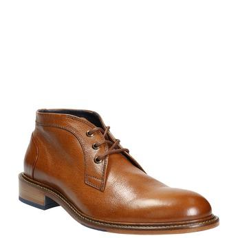 Buty za kostkę wykonane w całości ze skóry bata, brązowy, 826-3909 - 13