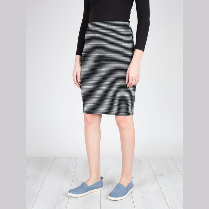 Damskie skórzane buty z perforacją bata, niebieski, 516-9601 - 18