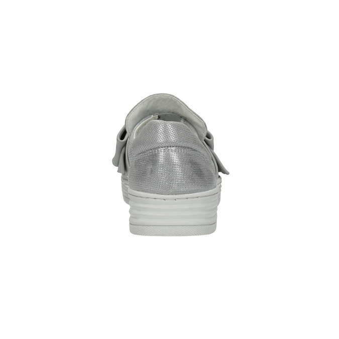 Skórzane slip-on zkokardami bata, srebrny, 516-2605 - 17