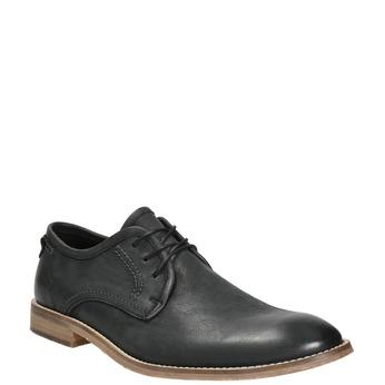 Skórzane półbuty męskie zkontrastowymi przeszyciami bata, czarny, 826-6815 - 13