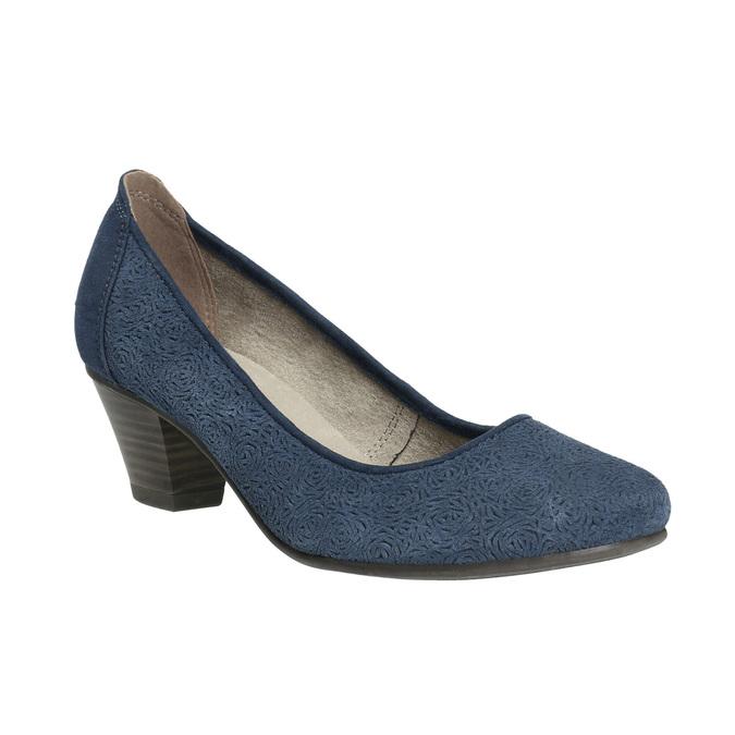 Skórzane czółenka oszerokościH bata, niebieski, 623-9602 - 13