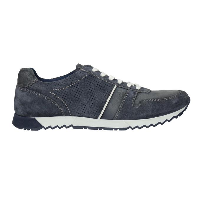Skórzane trampki męskie bata, niebieski, 843-9624 - 15
