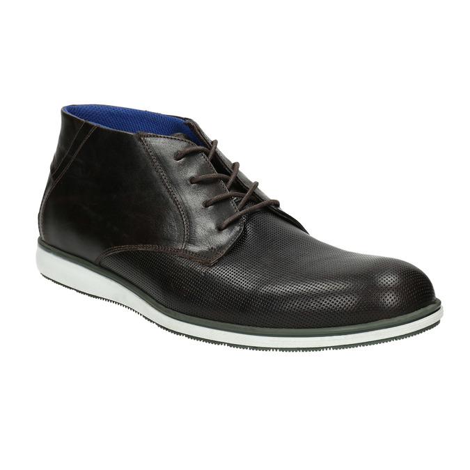 Skórzane buty za kostkę znieformalną podeszwą bata, czarny, 826-4818 - 13