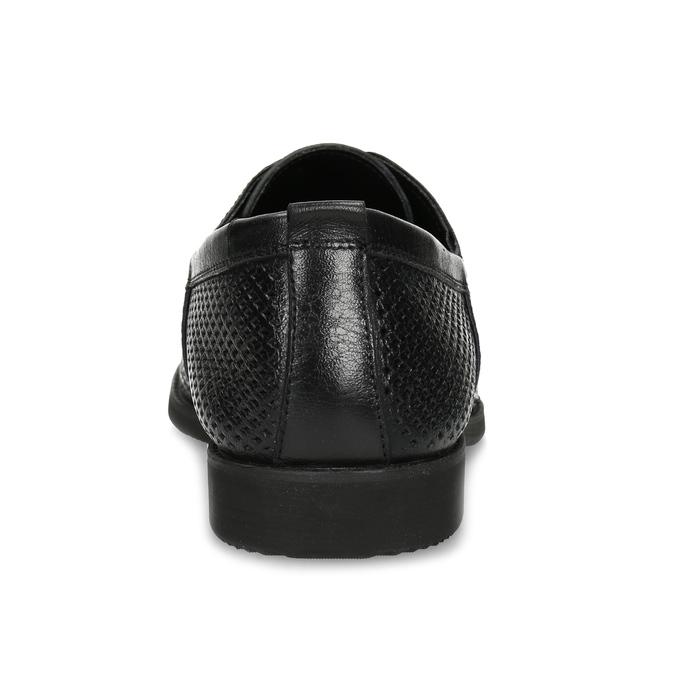 Skórzane półbuty zperforacją bata, czarny, 854-6601 - 15