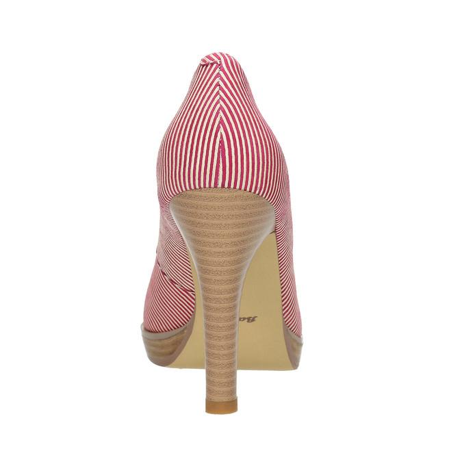 Skórzane czółenka wpaski bata, różowy, 726-5633 - 17
