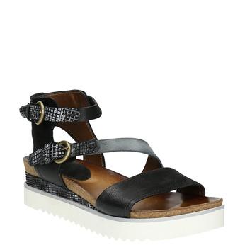 Skórzane sandały damskie na platformie bata, czarny, 666-6604 - 13