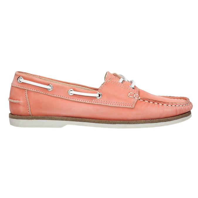 Skórzane mokasyny damskie bata, różowy, 526-5632 - 15