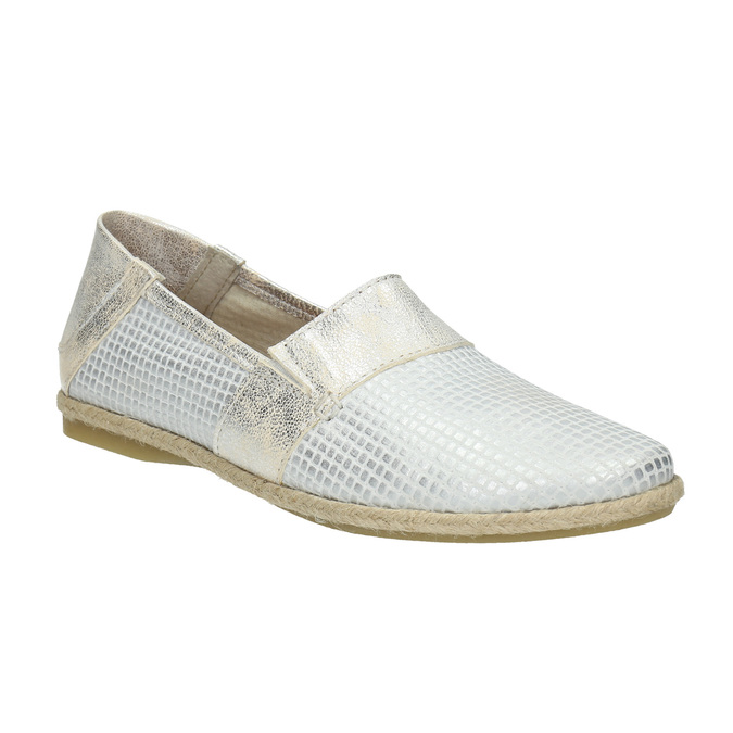 Skórzane slip-on damskie bata, biały, 516-1604 - 13