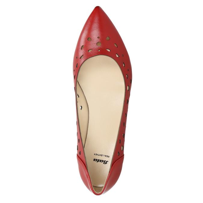 Czerwone skórzane baleriny bata, czerwony, 524-5604 - 26