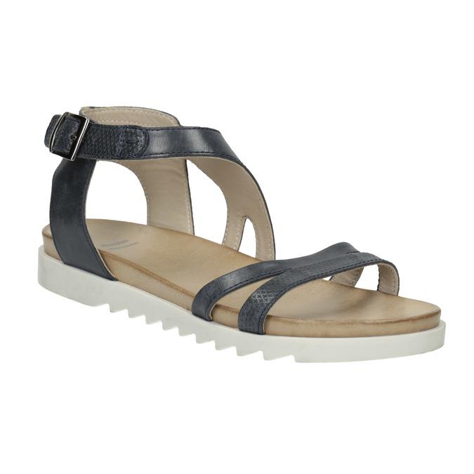 Skórzane sandały na kontrastowej podeszwie bata, niebieski, 566-9606 - 13