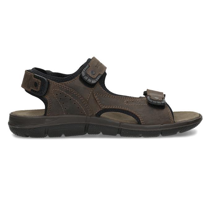 Brązowe skórzane sandały męskie na rzepy weinbrenner, 866-4631 - 19