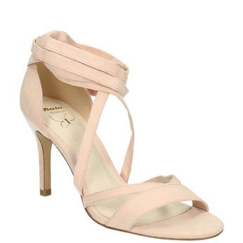 Sznurowane sandały na obcasach insolia, różowy, 769-5613 - 13