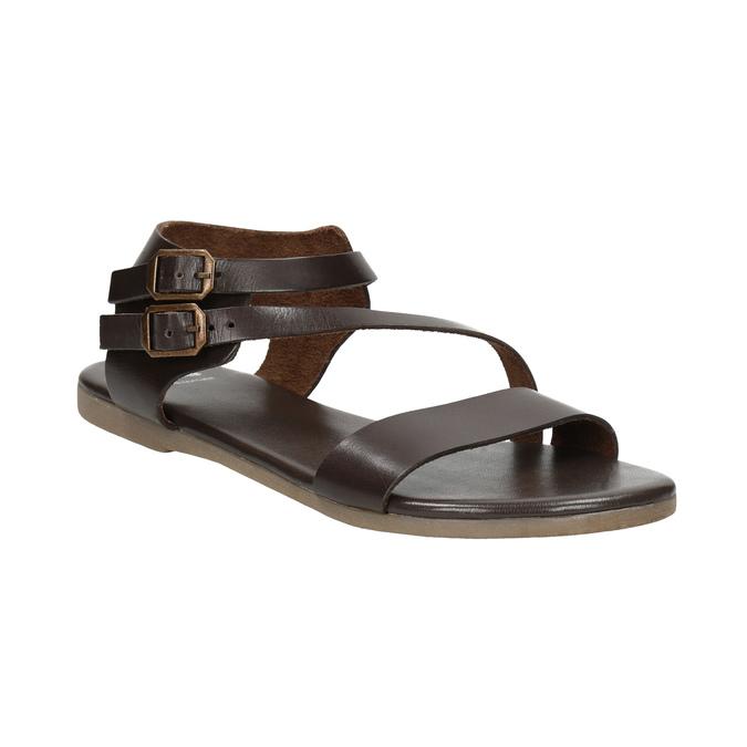 Brązowe sandały ze skóry bata, brązowy, 566-4613 - 13