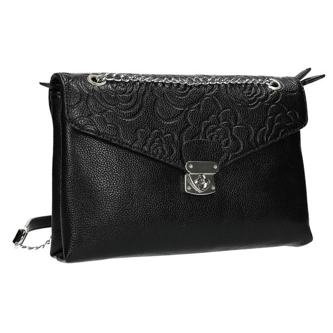 Mała czarna torebka zklapą bata, czarny, 961-6731 - 13