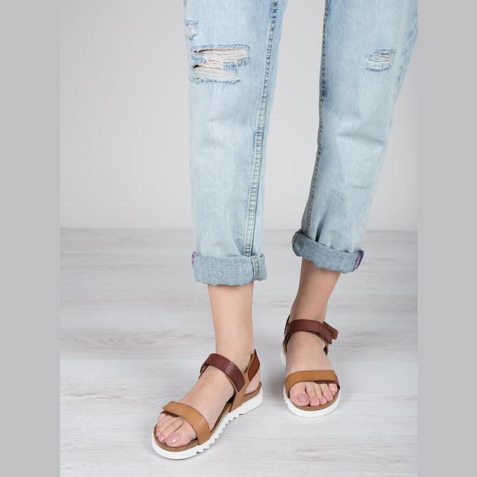 Skórzane sandały damskie weinbrenner, brązowy, 566-4630 - 18