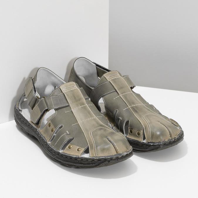 Brązowe skórzane sandały męskie bata, brązowy, 866-2622 - 26