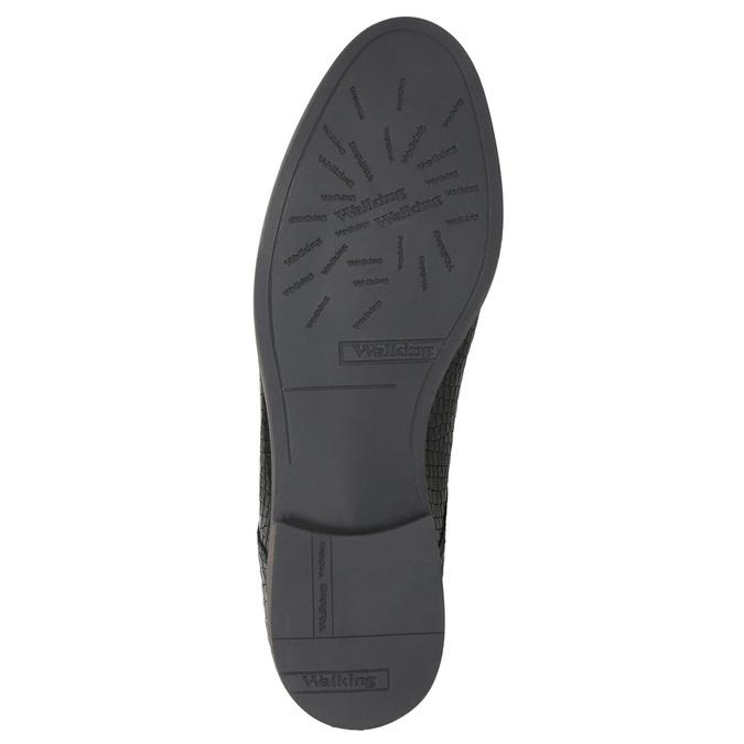 Skórzane półbuty damskie zfakturą bata, czarny, 526-6637 - 26