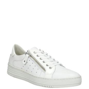 Skórzane trampki damskie zzamkami błyskawicznymi bata, biały, 526-2630 - 13