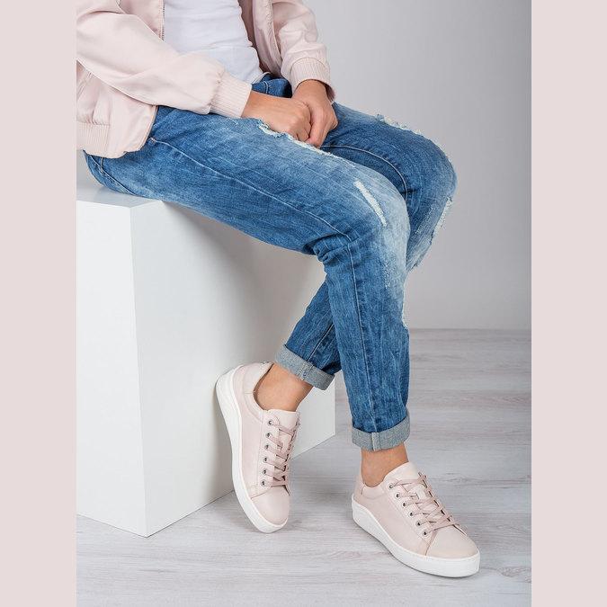 Skórzane trampki damskie bata, różowy, 526-5641 - 19