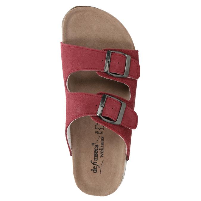 Skórzane kapcie damskie de-fonseca, czerwony, 573-4621 - 19