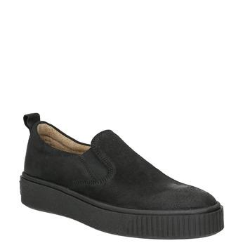 Skórzane slip-on damskie bata, czarny, 516-6613 - 13