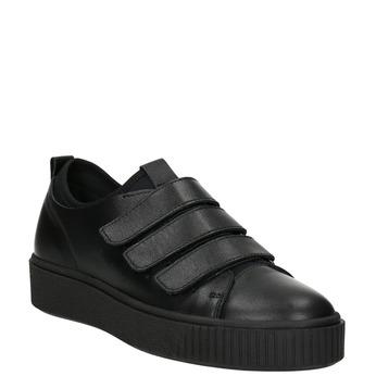 Czarne skórzane trampki na rzepy bata, czarny, 526-6646 - 13