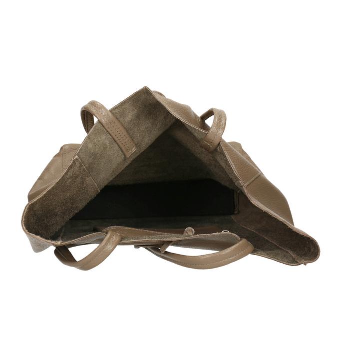 Skórzana torba damska zkokardą bata, beżowy, 964-2122 - 15