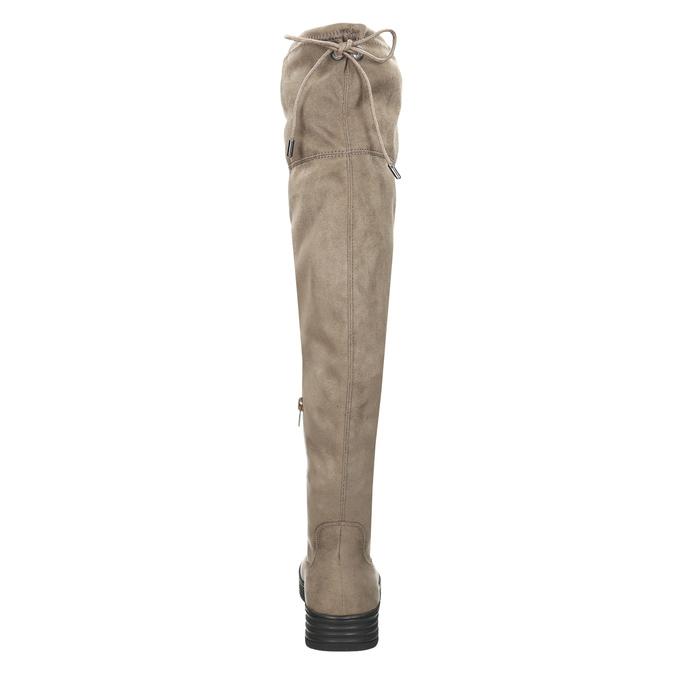 Brązowe kozaki damskie za kolana bata, brązowy, 699-3634 - 17