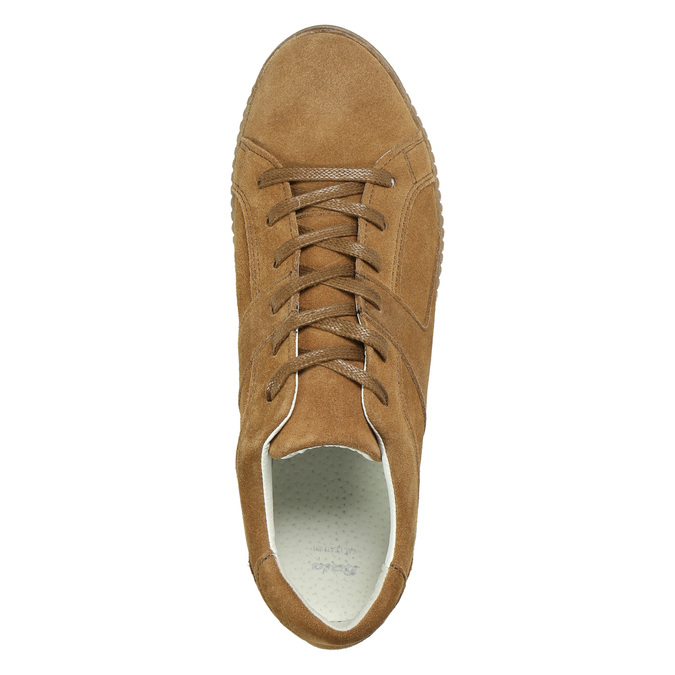 Brązowe trampki ze skóry bata, brązowy, 523-8604 - 26