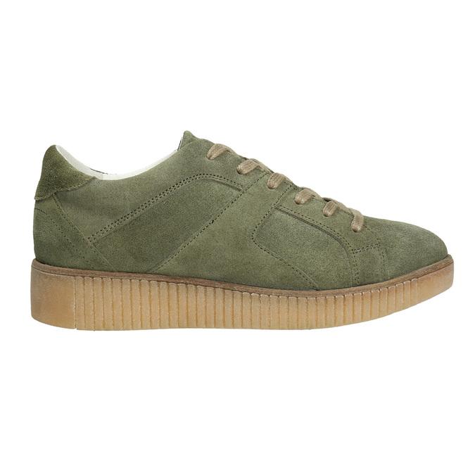 Skórzane trampki damskie wkolorze khaki bata, zielony, 523-7604 - 15