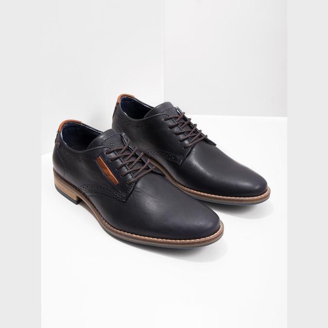 Nieformalne półbuty ze skóry bata, niebieski, 826-9910 - 18