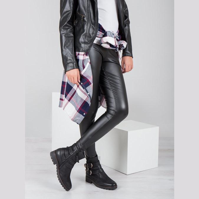Buty ze skóry za kostkę z klamrami bata, czarny, 596-6660 - 19