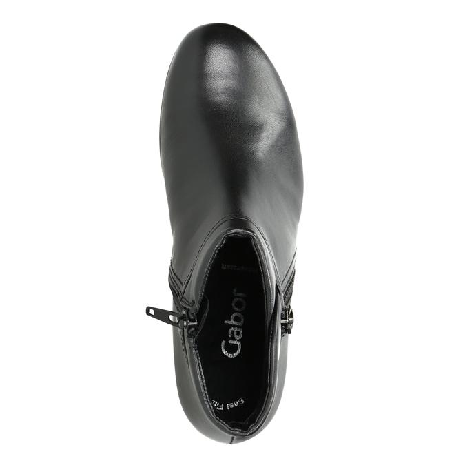Skórzane buty za kostkę, zzamkami błyskawicznymi gabor, czarny, 614-6122 - 15