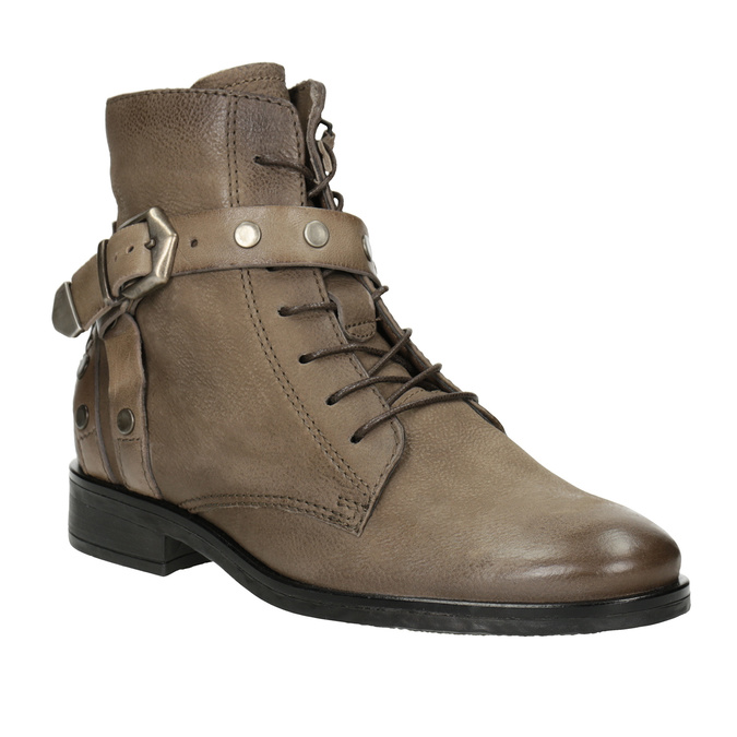 Botki damskie zklamrami bata, brązowy, 596-4661 - 13